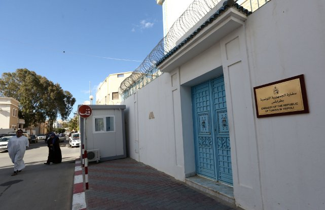 L'ambassade de la Tunisie en Libye... (Photo MAHMUD TURKIA, AFP)