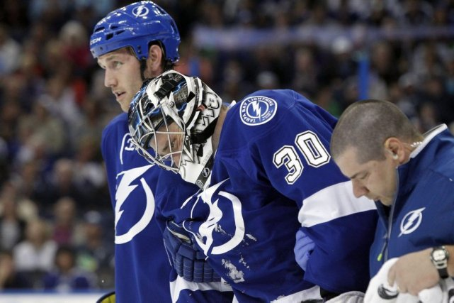 Ben Bishop (30) s'est blessé le 8 avril... (Photo Kim Klement, archives USA Today)