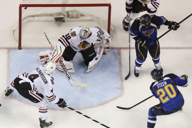 Alexander Steen a déjoué Corey Crawford à 26... (Photo Chris Lee, AP)