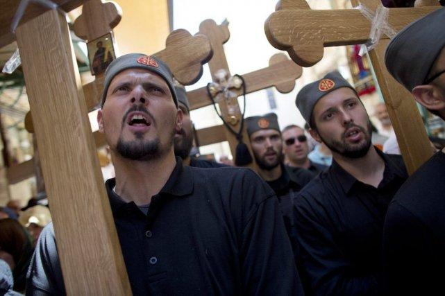 Parmi les pèlerins figuraient notamment une importante délégation... (Photo Dusan Vranic, Associated Press)