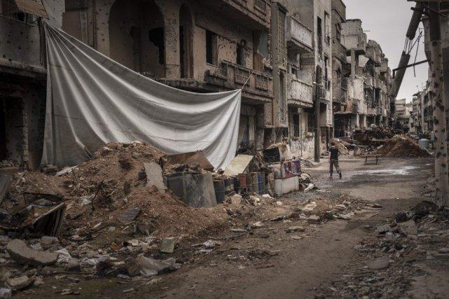 Un quartier dévasté de Homs, en Syrie.... (Photo Sergey Ponomarev, The New York Times)