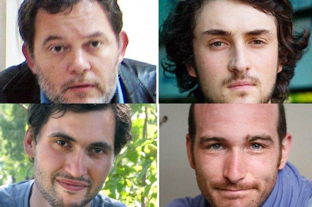 Les journalistesDidier François,Edouard Elias,Pierre Torres etNicolas Henin.... (PHOTO AGENCE FRANCE PRESSE)