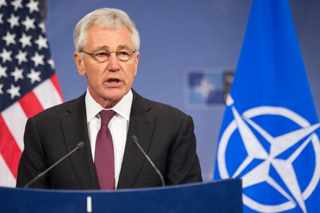 Le secrétaire américain à la Défense, Chuck Hagel.... (Photo Geert Vanden Wijngaert, archives AP)