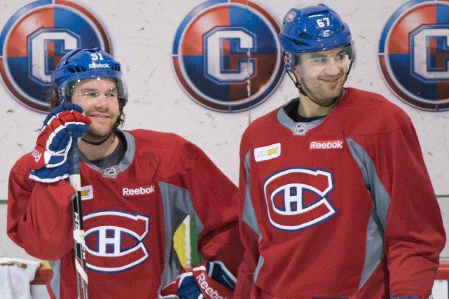 David Desharnais et Max Pacioretty avaient le sourire... (Photo Graham Hughes, PC)