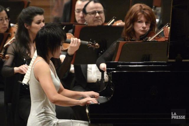 La jeune pianiste chinoise Yuja Wang en concert... (Photo: Bernard Brault, La Presse)
