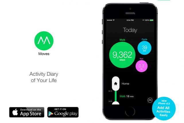 L'application Moves permet notamment de comptabiliser le nombre...