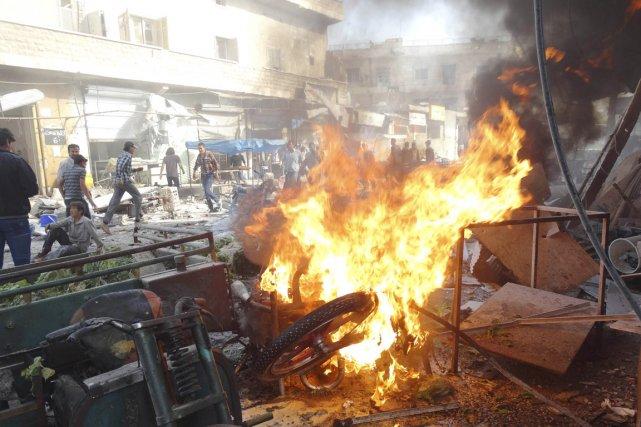 «Le nombre des victimes du raid d'aujourd'hui contre... (PHOTO ABDALGHNE KAROOF, REUTERS)