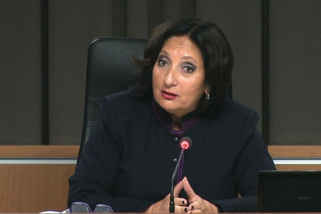 La juge Charbonneau... (Image tirée d'une capture vidéo)