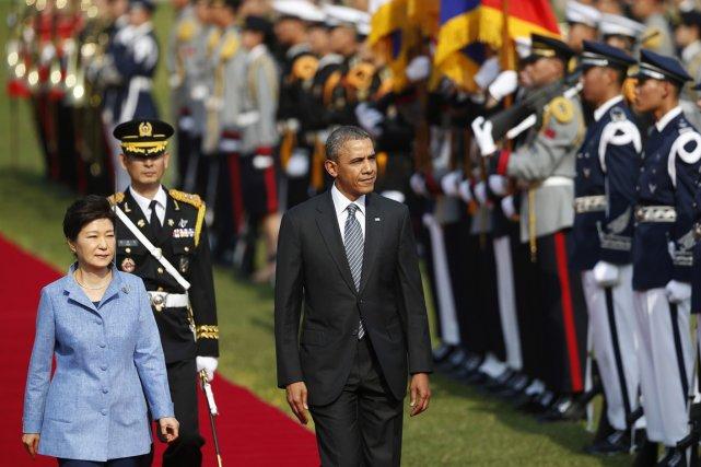 Le président américain, en visite à Séoul dans... (PHOTO KIM HONG-JI, AP)