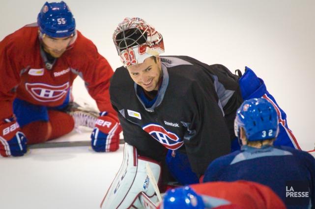 Carey Price était tout sourire à l'entraînement du... (Photo André Pichette, La Presse)