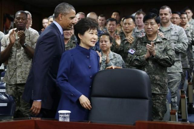 Barack Obama et Park Geun-hye... (Photo Larry Downing, Reuters)