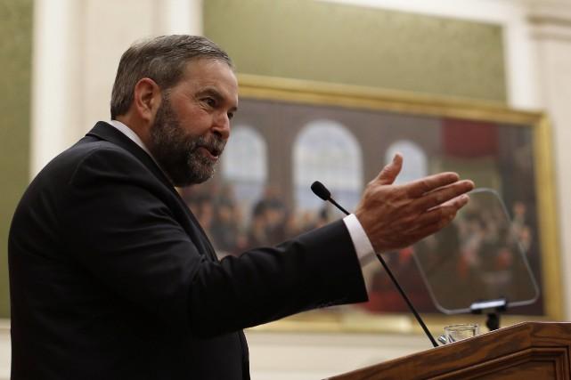Le chef néo-démocrate Thomas Mulcair se félicitait du... (Photo CHRIS WATTIE, Reuters)
