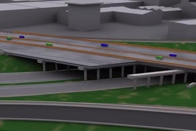 La mise en place d'un nouveau chantier de construction dans l'axe du pont...