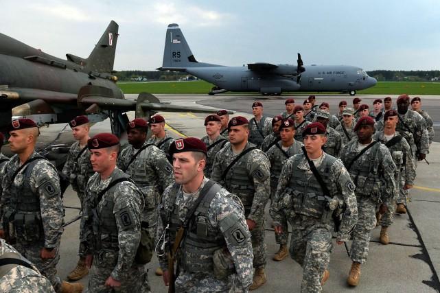Des troupes américaines àSwidwin, en Pologne, le 23... (PHOTO JANEK KARZYNSKI, ARCHIVES AFP)