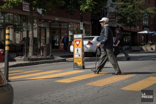 La Semaine du piéton est lancée et un organisme de Montréal recommande la mise... (PHOTO MATHIEU WADDELL, ARCHIVES LA PRESSE)