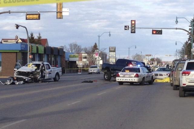Au volant d'un petit camion, le suspect a... (PHOTO RHEA LABRIE, PC)