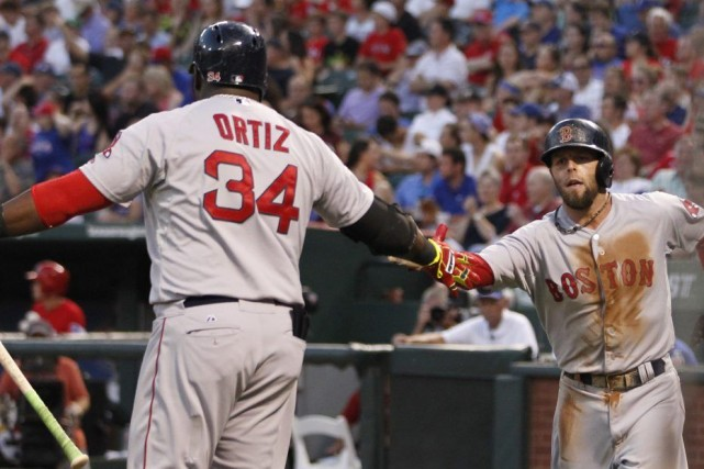 David Ortiz a frappé un circuit et un double, Shane Victorino a produit quatre... (Photo Tim Heitman, USA TODAY Sports)