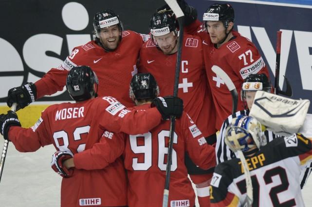 La Suisse a défait l'Allemagne 3-2, mercredi, au... (Photo Alexander Nemenov, AFP)