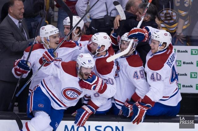 Les joueurs du Canadien étaient euphoriques après leur... (Photo André Pichette, La Presse)