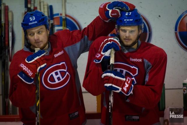 Alex Galchenyuk (à droite) s'est entraîné au sein... (Photo André Pichette, La Presse)