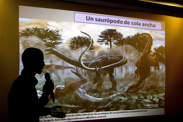 Un paléontologue argentin commente les récentes découvertes faites... (Photo AP)