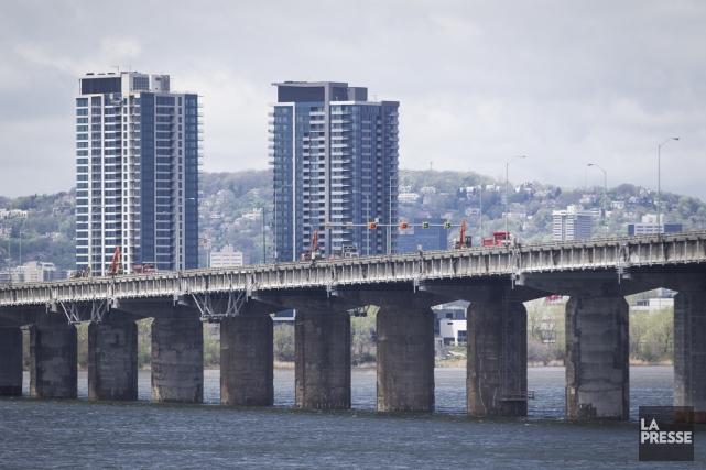 Travaux sur le pont Champlain... (Photo Olivier Pontbriand, archives La Presse)