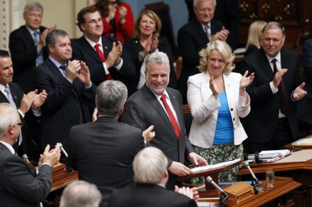 Le premier ministre Philippe Couillard à l'issue de... (Photo Mathieu Belanger, PC)