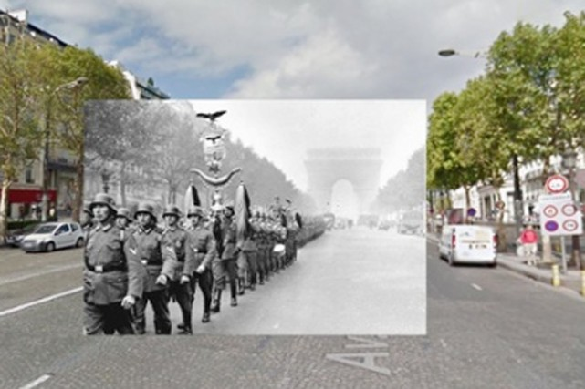 Des soldats nazis défilent devant l'Arc de Triomphe... (PHOTOMONTAGE HALLEY DOCHERTY, THE GUARDIAN)