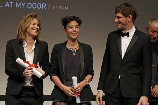 (L-R) Co-directors Claire Burger, Marie Amachoukeli and Samuel... (Photo YVES HERMAN, REUTERS)
