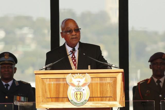 Jacob Zuma lors de sa prestation de serment.... (Photo Siphiwe Sibeko, AFP)