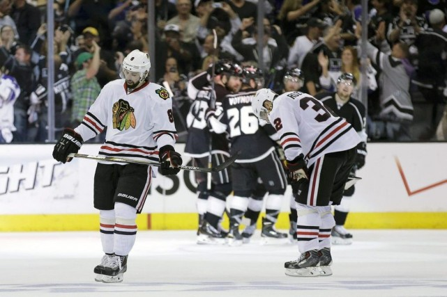 Nick Leddy et Michal Rozsival devant les Kings... (Photo Chris Carlson, Associated Press)