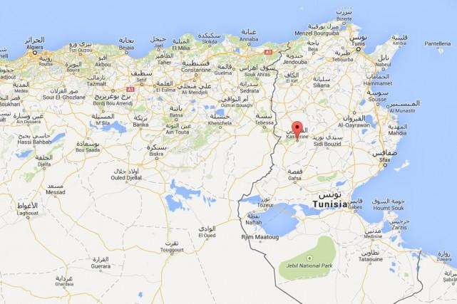 Quatre policiers tunisiens ont été tués dans la nuit de mardi à mercredi dans... (Carte Google)