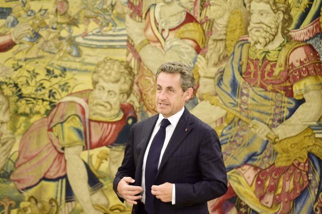 Nicolas Sarkozy au palais de La Zarzuela, à... (PHOTO GÉRARD JULIEN, ARCHIVES AFP)