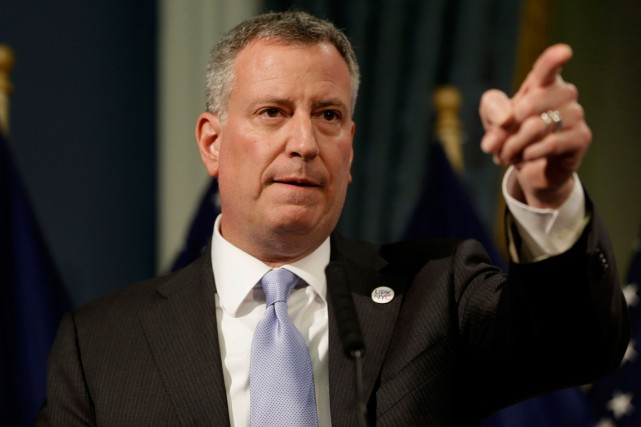 Le maire de New York, Bill de Blasio.... (Photo Seth Wenig, Reuters)