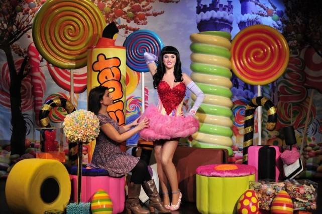 La statue de Katy Perry.... (Photo CARL COURT, AFP)