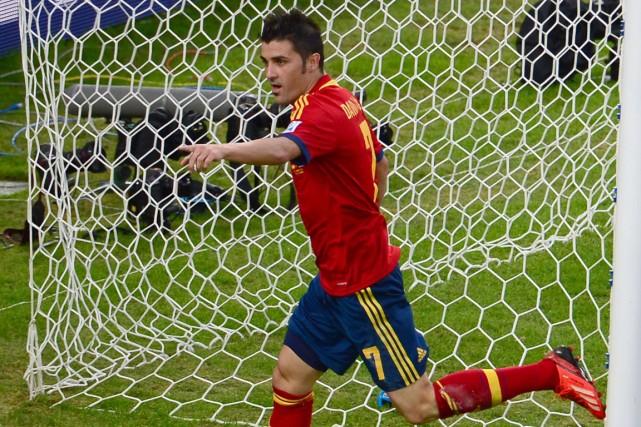 David Villa est le meilleur buteur de tous... (Photo Christophe Simon, archives AFP)