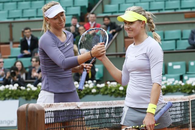 Maria Sharapova et Eugenie Bouchard... (Archives AFP)