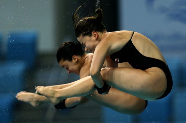 Meaghan Benfeito et Roseline Filion ont remporté le bronze au plongeon... (PHOTO ARCHIVES AFP)