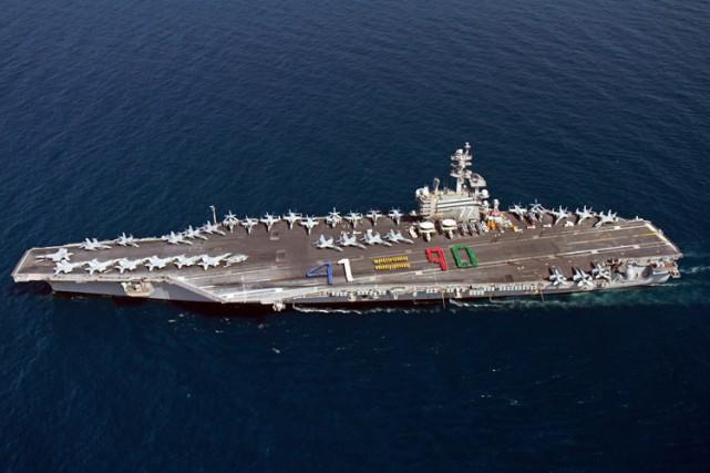 Les informations incluaient les plans du porte-avions nucléaireUSS... (Photo: AFP)
