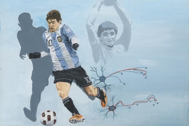 On dit de Messi qu'il ne pense qu'à... (Peinture Patrick Leduc, collaboration spéciale)
