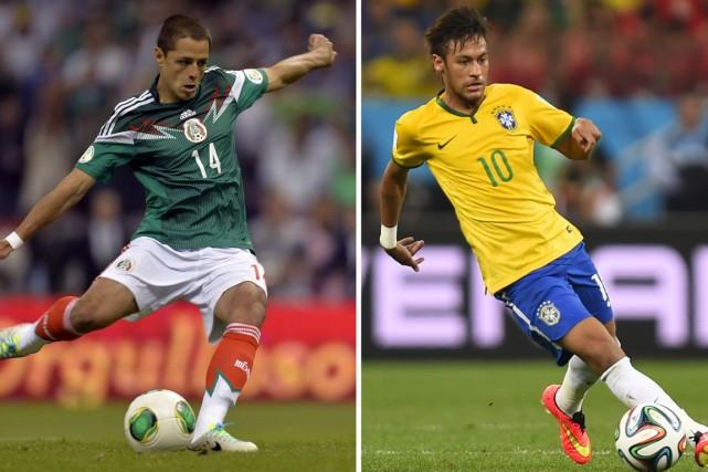 Les attaquants Javier Hernandez, du Mexique, et Neymar,... (Photos AFP)