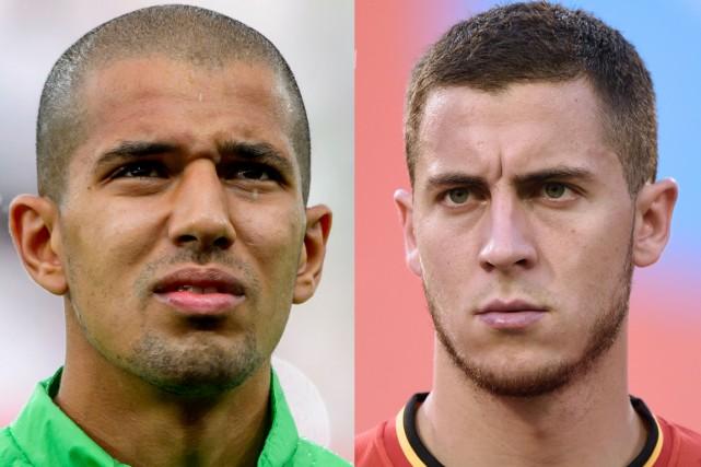 Sofiane Feghouli, de l'Algérie, et Eden Hazard, de... (Photos AFP)