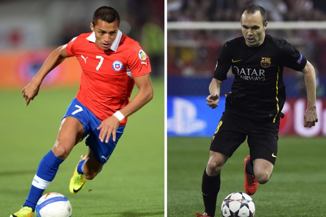 Alexis Sanchez, du Chili, et Andrés Iniesta, de... (Photos AFP)