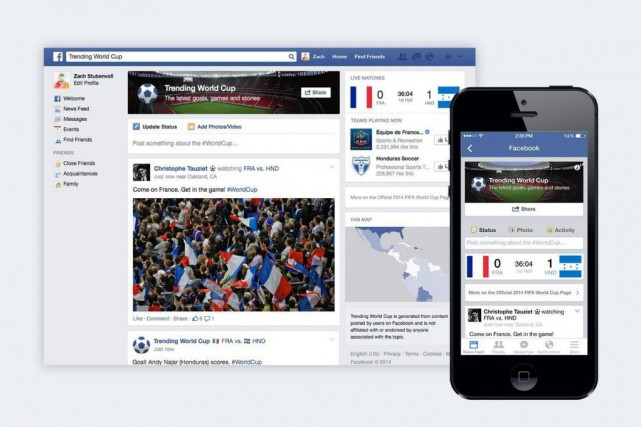 Facebook a ciblé la Coupe du monde dans... (Photo Facebook/AP)