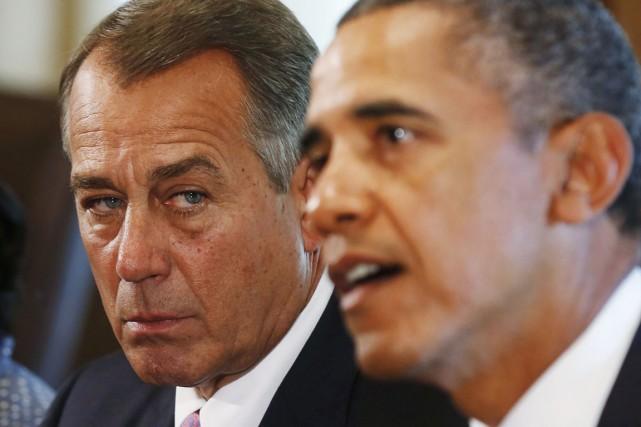 John Boehner (à gauche) et les républicains reprochent... (PHOTO LARRY DOWNING, ARCHIVES REUTERS)