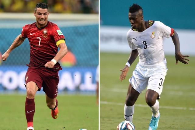 Les attaquants Cristiano Ronaldo, du Portugal, et Asamoah... (Photos AFP)