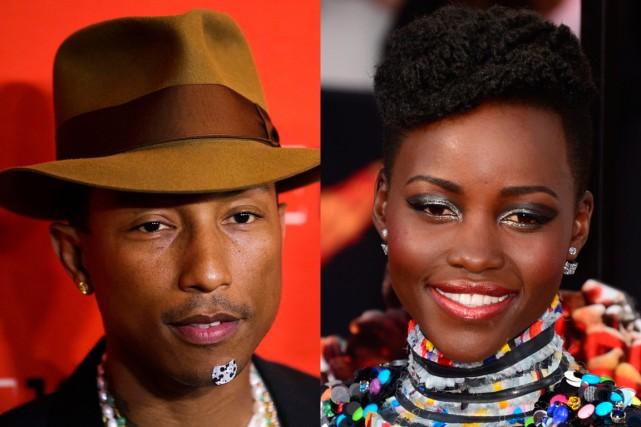 Le chanteur américain Pharrell Williams et l'actrice mexicano-kenyanne... (PHOTOS LUCAS JACKSON, REUTERS ET FREDERIC J. BROWN, AFP)