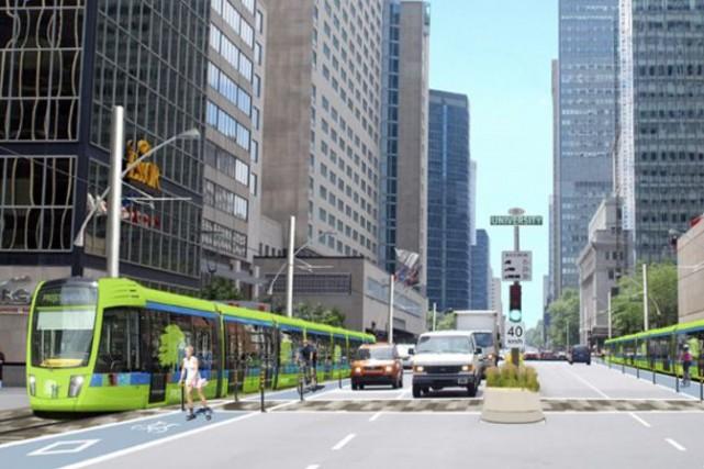 Illustration d'un SLR et tramway intégré.... (Illustration fournie par Projet Montréal)