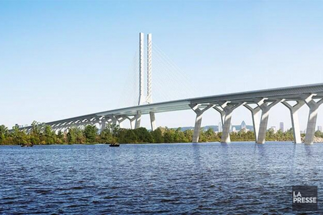 La vision architecturale du nouveau pont Champlain.... (Illustration présentée à la conférence de presse)