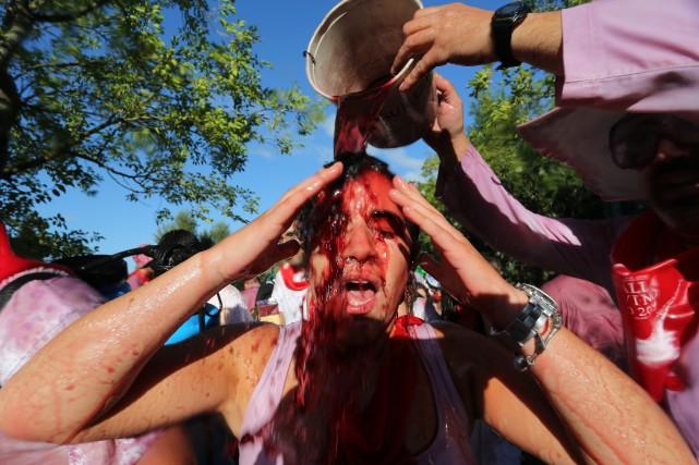 Déclarée fête d'intérêt touristique, la bataille du vin... (Photo CESAR MANSO, AFP)